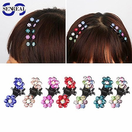 SENREAL 30pcs Mini Claw Hair Clips Crystal Rhinestone Mix Colored Bangs Flower Hair Claw Jaw Clip Hair Pin Accessories for Girl Women (New Hair Jaw Clip)