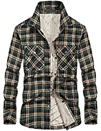 Men's Thermal Button-Down Fleece Lined Flannel Plaid Twill Work Shirt Jacket