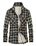 Chartou Men's Thermal Button-Down Fleece Lined Flannel Plaid Twill Work Shirt Jacket (Green, Medium)