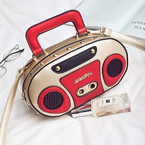 Zwzh La Radio gold Animados Bolsa Monedero Creativa Mensajero 3d Diagonal Totes Bolso De Mujer Dibujos Estéreo rawrUEq