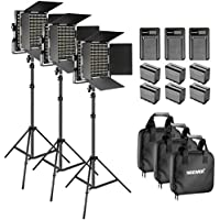 Neewer Bi-color LED 660 Video Light and Stand Kit with Battery and Charger for Studio, YouTube Video Shooting, Durable Metal Frame, Dimmable with U Bracket and Barndoor, 3200-5600K, CRI 96+ (3 Pack)