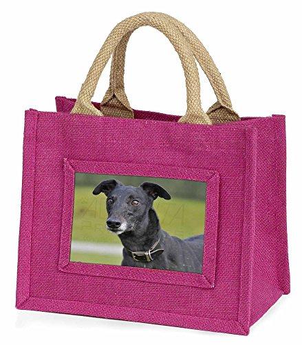 Advanta schwarz Windhund Hund Little Mädchen Einkaufstasche Weihnachten Geschenk, Jute, pink, 25,5x 21x 2cm