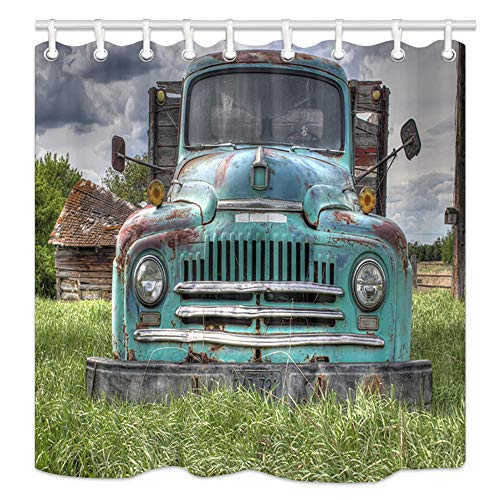 NYMB Farm House Bath Curtain, Wooden Barn with Rusic Truck in Forest, Polyester Fabric American Western Shower Curtain for Bathroom, 69X70in, Shower Curtains Hooks Included