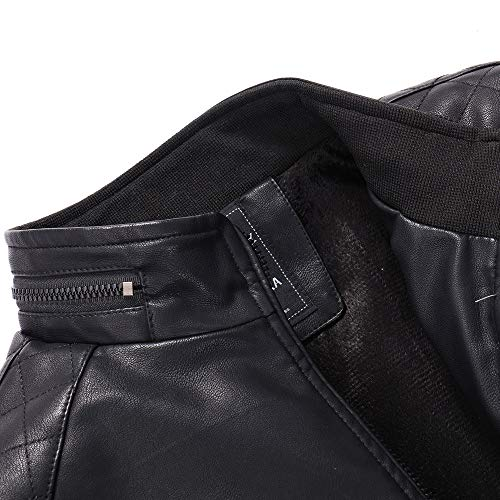 Men's M-6XL Autumn Winter Casual Pocket Zipper Thermal Leather Jacket Top Oversize Coat by Allywit (Image #7)