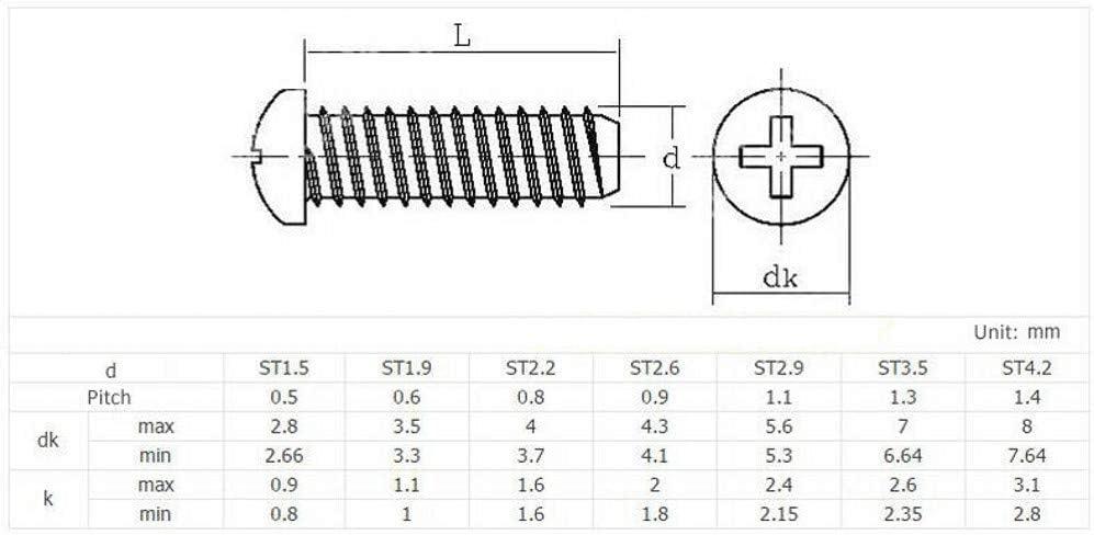 100Pcs, M4x8mm M2.6 M3 M3.5 M4 Pan Head Flat Tail Self Tapping Screws Sheet Metal Screw PB Black-Zinc Carbon Steel