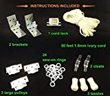 All-in-One ROMAN SHADE HARDWARE KIT, in IVORY (cord lock, pulleys, cord, brackets, cleats, rings, tassels)