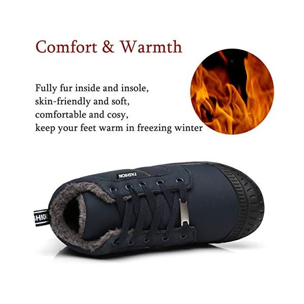 Mens Fur Lined Pull On winter Anti-Slip punk Ankle Boots Sports Leisure Shoes