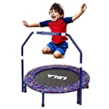 """LBLA 36"""" Mini Trampoline with Adjustable Handle, Steel Material and Safety Padded Cover, Foldable Jumper Rebounder for Kids (Max Hold 132 lbs)"""