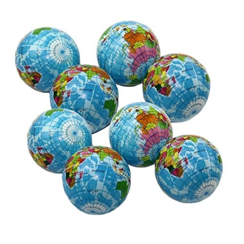 Balls Squeezable (Squeezable Stress Ball 12 Pack - Tension Relief Activity Balls Set of 12 - Pressure Relieving Health Balls - Therapeutic Relaxing Squeeze Ball Pack of 12 Globe Pattern Balls)