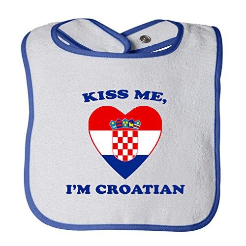 (Cute Rascals Kiss Me I Am Croatian Tot Contrast Trim Terry Bib White/Royal Blue)