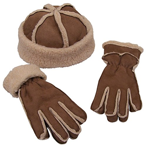 N'Ice Caps Womens Micro Fiber With Full Sherpa Lining Hat And Glove Set (One size fits Womens, Khaki Brown / Natural Sherpa)
