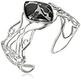 Barse Sterling Silver and Black Obsidian Silver Matrix Cuff Bracelet