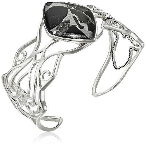 Barse Sterling Silver and Black Obsidian Silver Matrix Cuff Bracelet by Barse
