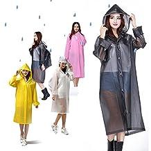 Reutilizable EVA Poncho de lluvia con campanas mangas Cordón transparente impermeable con bolsa cubierta para hombres mujeres