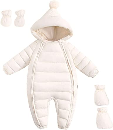 JELEUON Little Unisex Baby One-Piece Adorable Hooded Zip Up Long Sleeve Puffer Jacket Jumpsuit Winter Warm Snowsuit Romper