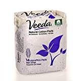 non chlorine maxi pads - Veeda Natural Cotton Ultra Thin Day Pads with Wings, Hypoallergenic, Folded, 14 Count