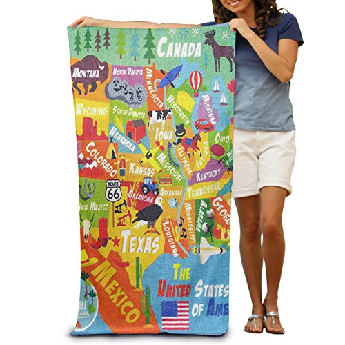 OUTOST Super Soft Bath Towel Playtime Collection USA United States Map Quick-Drying Beach Towel Travel Blanket Swimming Spa Towel Large Size 31