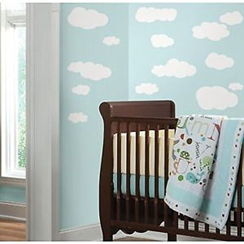 Lunarland WHITE CLOUDS 19 Wall Stickers Kids Room Decor Decals (Border Wallpaper Cloud)