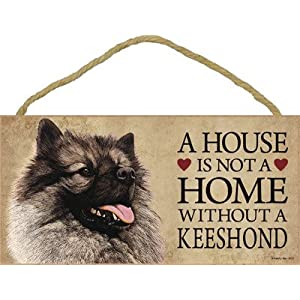 "SJT ENTERPRISES, INC. A House is not a Home Without a Keeshond Wood Sign Plaque 5"" x 10"" (SJT30113) 8"