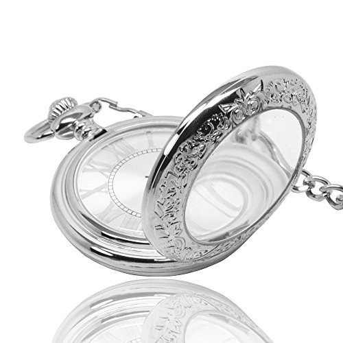 Silver Magnifier Glass For Dad Manual Winding Mens Mechanical Pocket Watch -