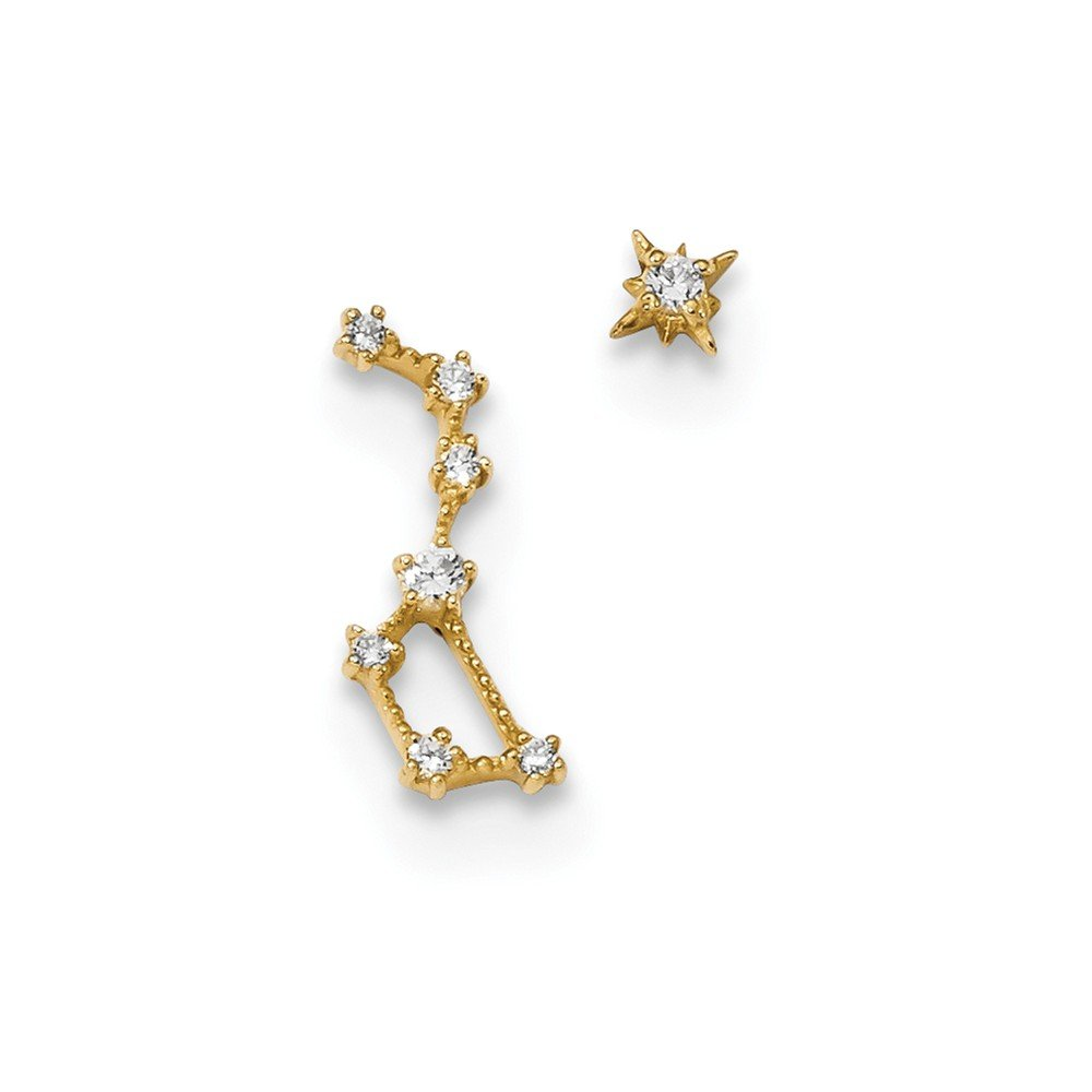 14K Yellow Gold Jewelry Drop /& Dangle Earrings Childrens 6.8 mm 14 mm Madi K Childrens CZ 1 Stud Star 1 Little Dipper Post Earrings
