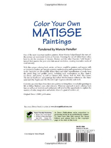 Color Your Own Matisse Paintings Dover Art Coloring Book Muncie Hendler 9780486400303 Amazon Books