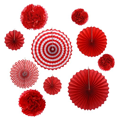 (Gardeningwill Set of 10 Red Paper Fans Rosettes Hanging Ornament Birthday Party Wedding Decorative)