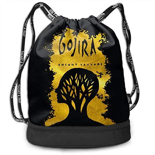 Fashion Outdoor Shopping Satchel Rucksack Backpack Bundle Pocket Drawstring Bag Daypack, Gojira L'enfant Sauvage
