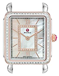 Michele Women's Deco II Mid Diamond Rose Gold Diamond Dial Watch Two-Tone/White Mother of Pearl