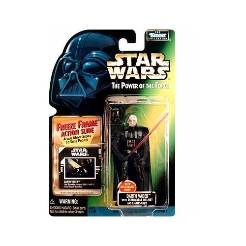 Star Wars Year 1997 The Power of the Force 4 Inch Tall Action Figure - DARTH VADER with Detachable Hand, Removable Helmet and Red Lightsaber Plus Bonus Freeze Frame Action Slide Darth Vader Removable Helmet