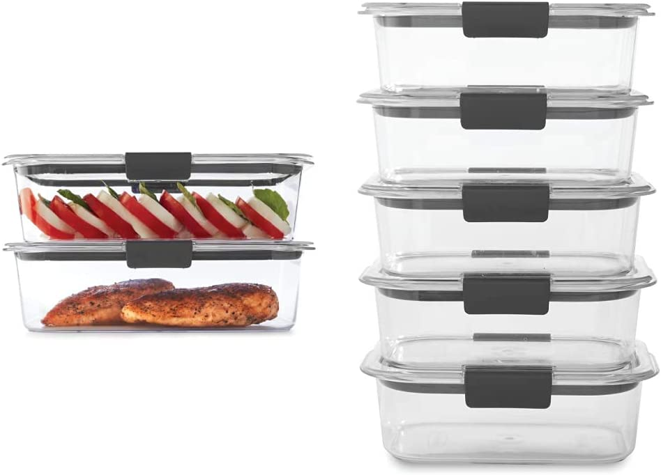 Rubbermaid Leak-Proof Brilliance Food Storage Set | 9.6 Cup Plastic Containers with Lids, 2-Pack, Clear & Brilliance Food Storage Container, BPA free Plastic, Medium, 3.2 Cup, 5 Pack, Clear