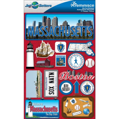 (Reminisce Jet Setters Dimensional Stickers-Massachusetts)