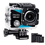Sports Action Camera 1080P, Piwoka Ultra HD 12MP Waterproof Cam, 170° Wide Angle Underwater Camcorder with 2 Batteries, Battery Charger and Mounting Accessories