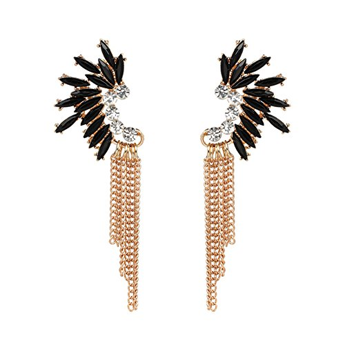 - Gold Tone Tassel Dangle Drop Earring for Women Statement Crystal Rhinestone Charms (Black)