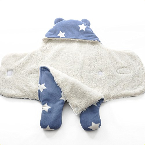 Blackblume Flannel Daul Layer Polar Fleece Soft Baby Swaddle Blanket Sleeping Bag With Bear Ear (Blue) (Polar Fleece Blanket Baby)