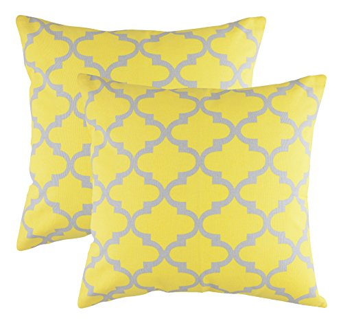 TreeWool Decorative Square Throw Pillow Covers Set Trellis Accent 100% Cotton Cushion Cases Pillowcases (18 x 18 Inches / 45 x 45 cm; Yellow & Grey) - Pack of 2