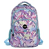 FRINGOO Girls Boys Multi-compartment School Backpack Waterproof Fits Laptop 17'' (H:44cm*L:29cm*W:21cm, Hologram Unicorns)