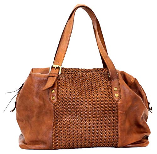 BZNA Bag Serena cognac Italy Designer dam handväska läderväska axelväska väska läder Shopper ny