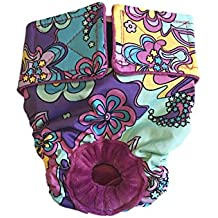 Cat Diaper Made in USA - Mystic Flower on Purple Washable Cat Diaper, S for Piddling, Spraying or Incontinent Cats