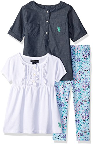 Woven T-shirt (U.S. Polo Assn. Little Girls' Chambray Woven Tee Knit Ruffle Neck Baby Doll T-Shirt and Floral Print Legging, White,)