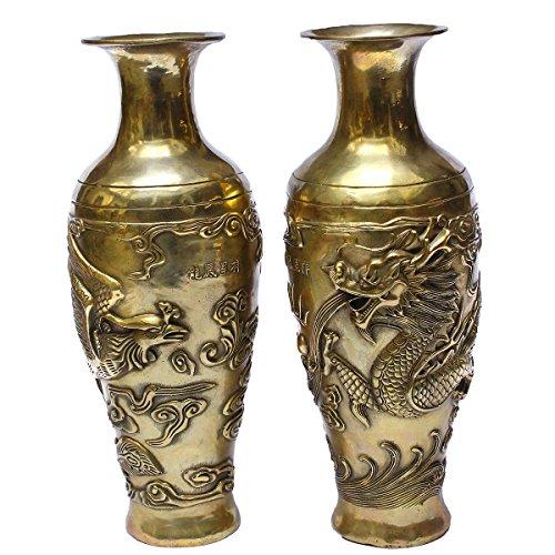 Unique Home Decor 11'' Dragon&Phoenix Design Metal Floral Flower Pot / Vase Bronze Metal Bud Vases Copper Finish - Hand Etched Pair/2pcs (Gold)