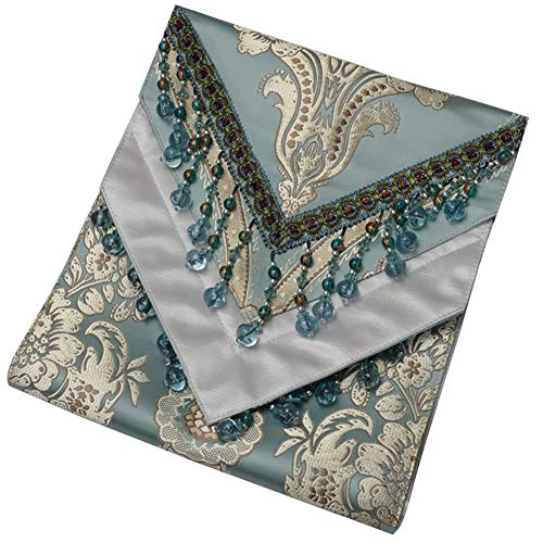 Beaded Tassel Table Runner Multi-spot Pattern Light Blue (Size : 30×160cm)