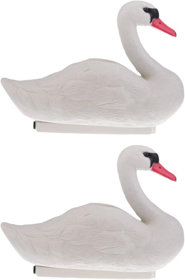 Homyl 2pcs Swan Hunting Decoys Floating Goose Decoys Garden Decors Yard Scarer Highly Simulated 3D Lifelike