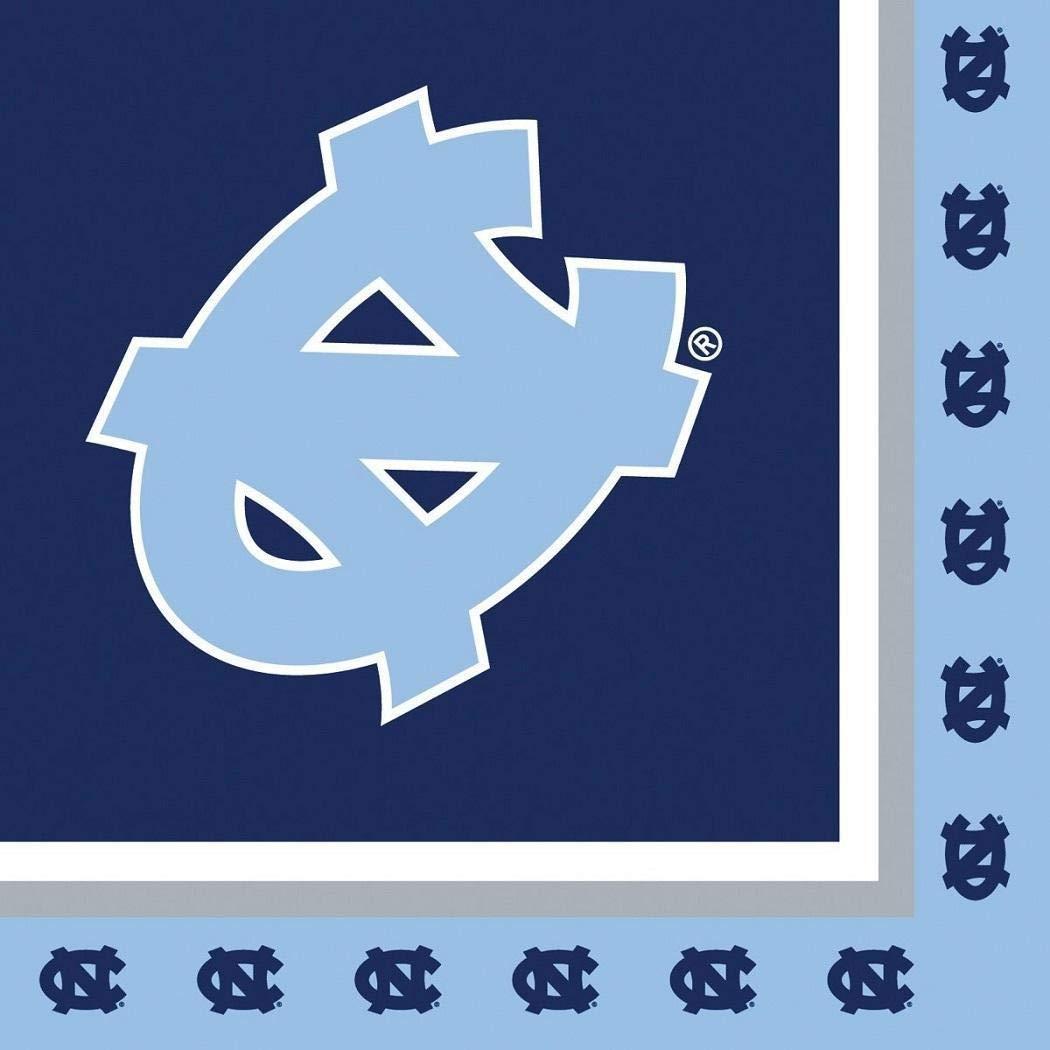 ノースカロライナターヒールズ NCAAナプキン フットボールゲームデイ スポーツテーマ カレッジ大学 パーティーサプライ NFL SEC バスケットボールナプキン 20人用 ブルー ホワイト ペーパーナプキン B07HGFQXWR