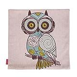 Kingla-Home-Cotton-Linen-Square-Decorative-Throw-Pillow-Covers-18-X-18-Inch-Custom-Pillow-Cases-Cushion-Cover-for-Sofa-Cute-Cartoon-Green-Owl