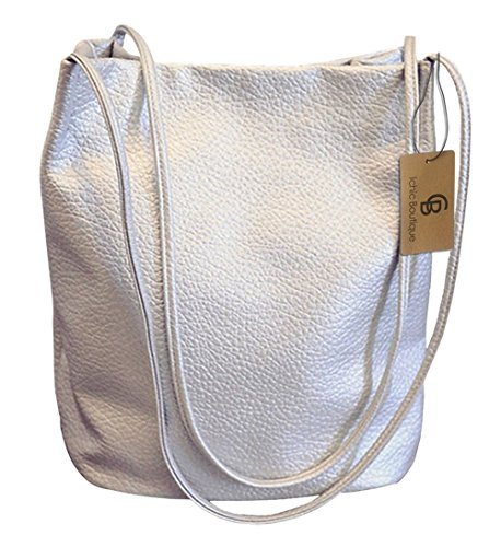 Bucket Bag Womens Leather Handbags Purse Tote Hobo Shoulder Bags,Silver (Gift Busket)