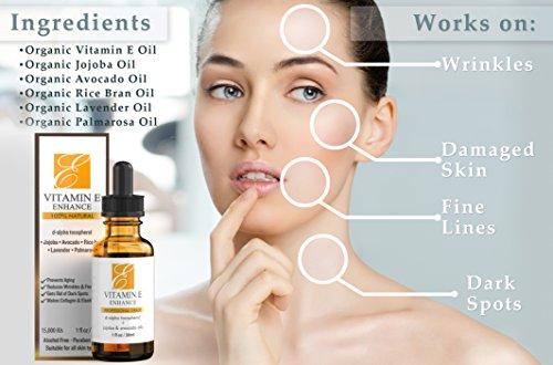 Vitamin e oil applied face