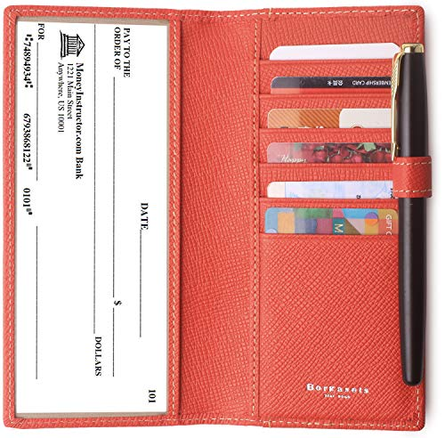 Leather Checkbook Cover For Women & Men RFID Credit Card Holder Wallet with Pen Insert (Red) ()