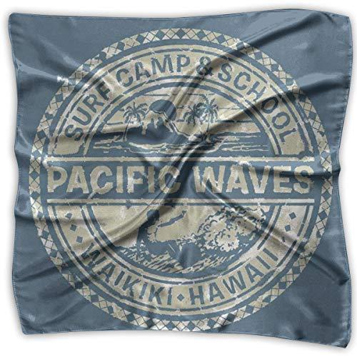 Logo Necktie Silk Ties (Bandana Head and Neck Tie Neckerchief,Pacific Waves Surf Camp School Hawaii Logo Motif Artsy Effects Design,Headband)