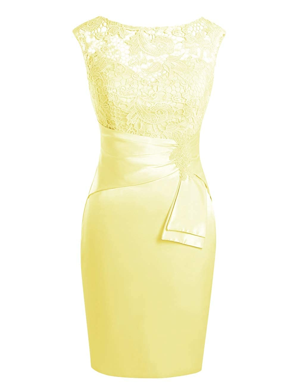 Daffodil MorySong Women's Hollow Out Lace Beading Knee Length Mother of The Bride Dress
